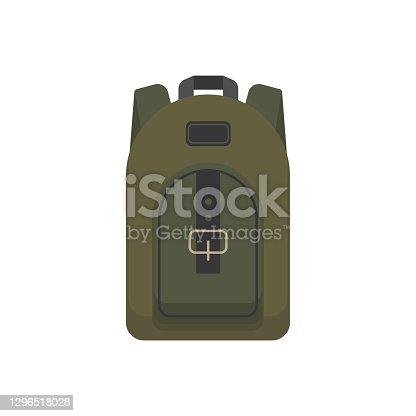istock Large hiking backpack isolated on white background 1296518028