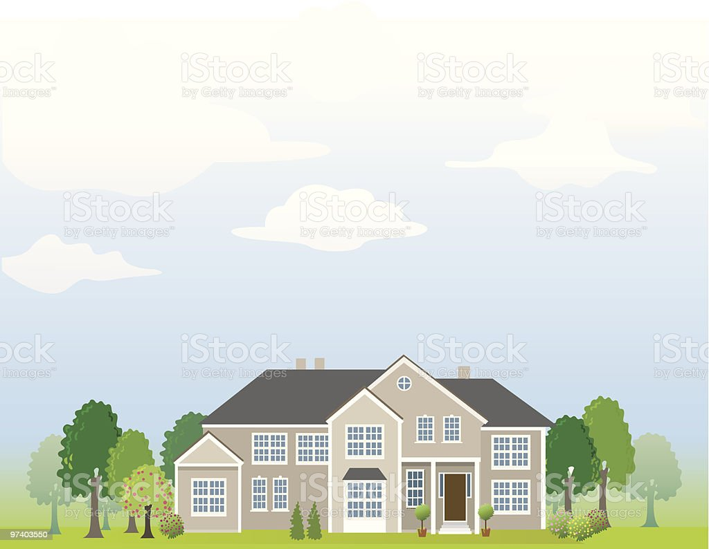 Large home vector art illustration
