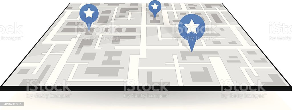 large icon gps navigation. map with pointers royalty-free stock vector art