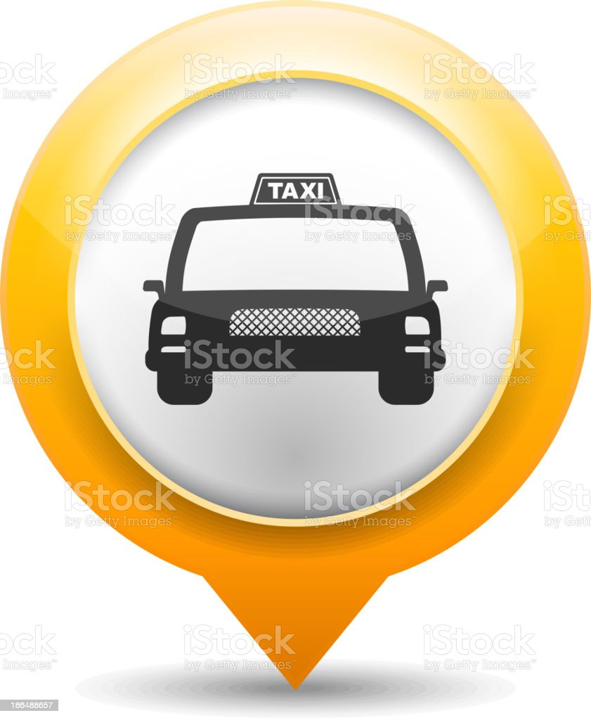 Large icon of taxi cab in orange/yellow bubble vector art illustration