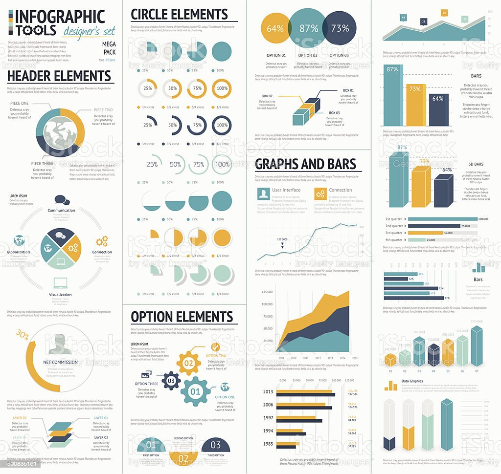 Large infographic vector elements template designers collection vector art illustration