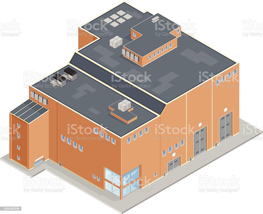 Large Isometric Factory Warehouse vector art illustration