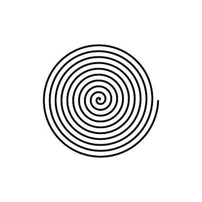 Large linear spiral. Archimedean spiral. Isolated illustration on white background.