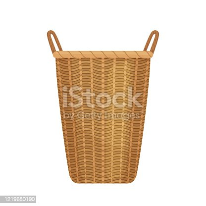Large long wicker basket with two handles for storing linen or supplies. Isolated on white background. Vector illustration