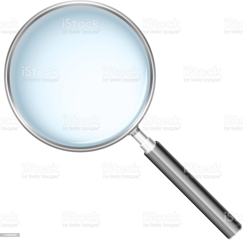 A large magnifying glass on white background vector art illustration