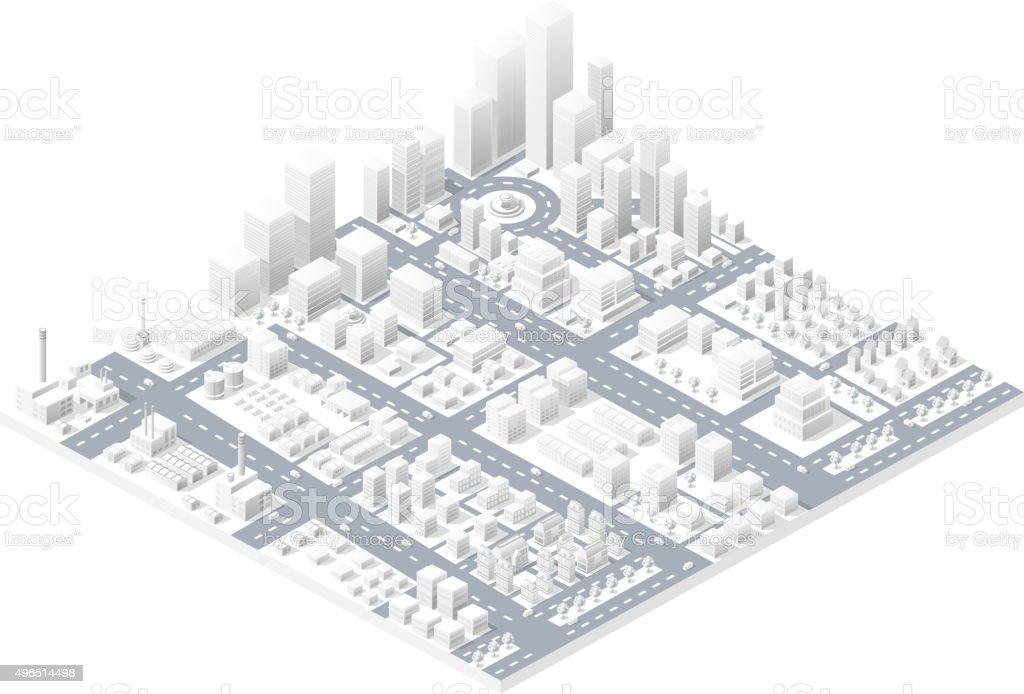 Large modern city vector art illustration