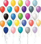 A large assortment of different multi colored balloons with different ribbons.