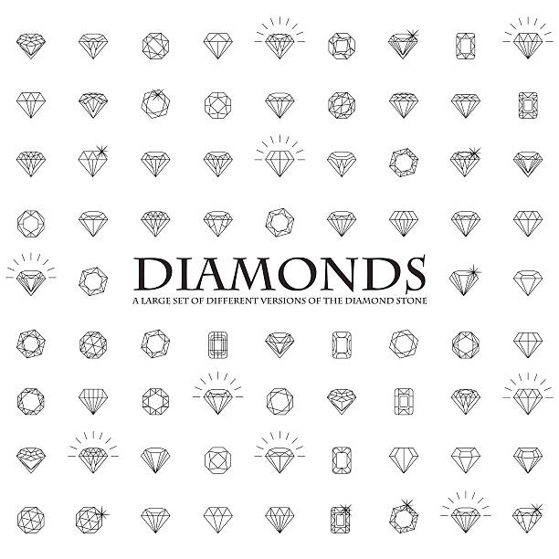 stockillustraties, clipart, cartoons en iconen met large number of versions of a diamond - edelsteen