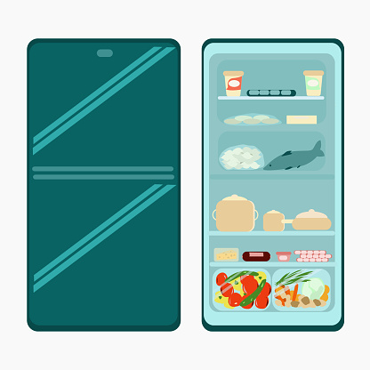 Large open refrigerator with various products and freezer