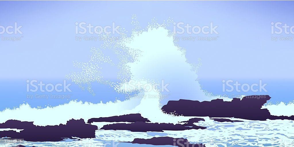 large Pacific Ocean wave crashing into rocks vector art illustration
