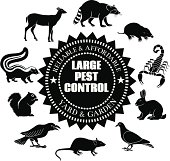 A vector illustration of large pest animals that would be useful for advertising exterminator and pest control services.