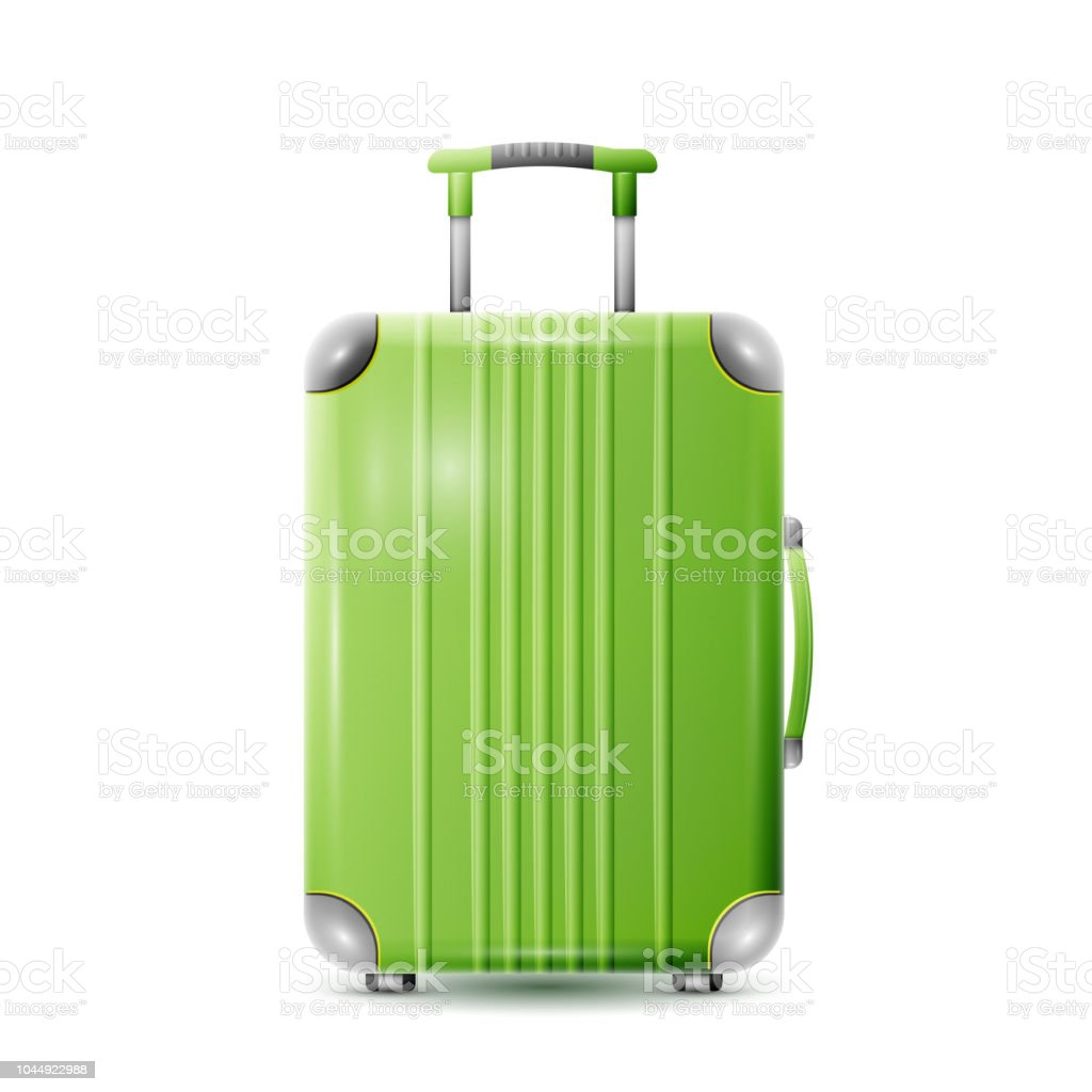 Large polycarbonate suitcase vector art illustration