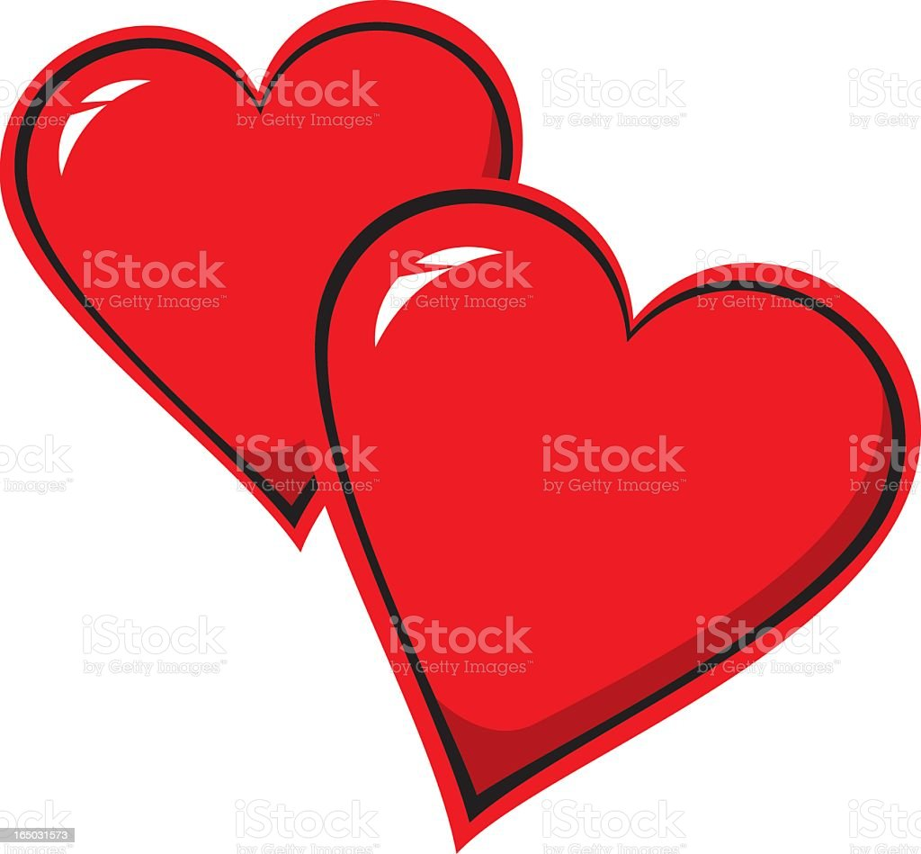 Large red illustrated hearts isolated on white royalty-free stock vector art