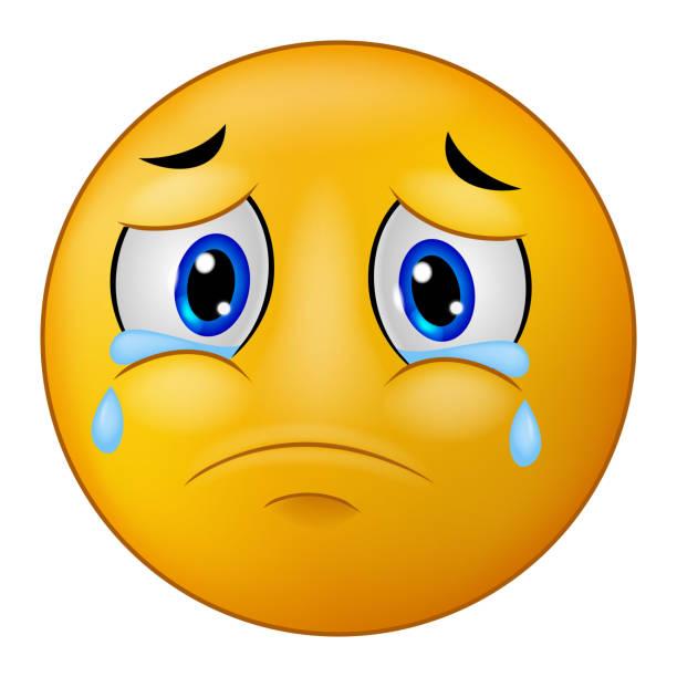 Large Sad Crying Yellow Emoticon Cartoon Vector Art Illustration