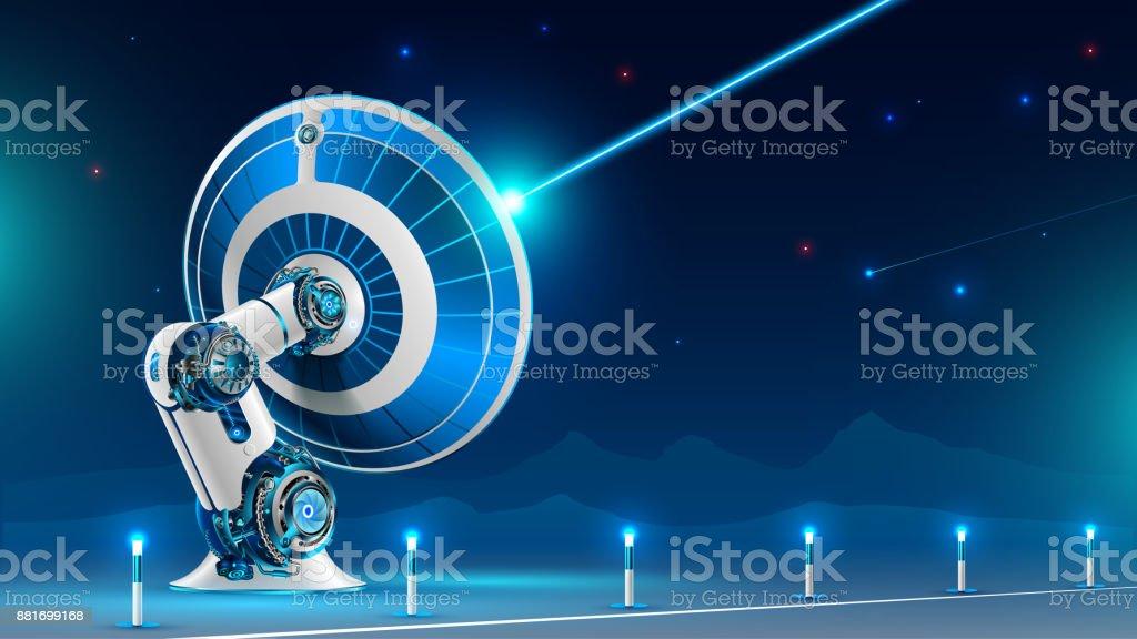 A large satellite dish broadcast radio signal vector art illustration
