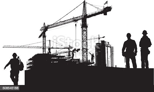 A vector silhouette illustration of a city construction site with crane over top of budding sky scrapers. A construction workers pose wearing a hard hat and tool belt in the foreground.