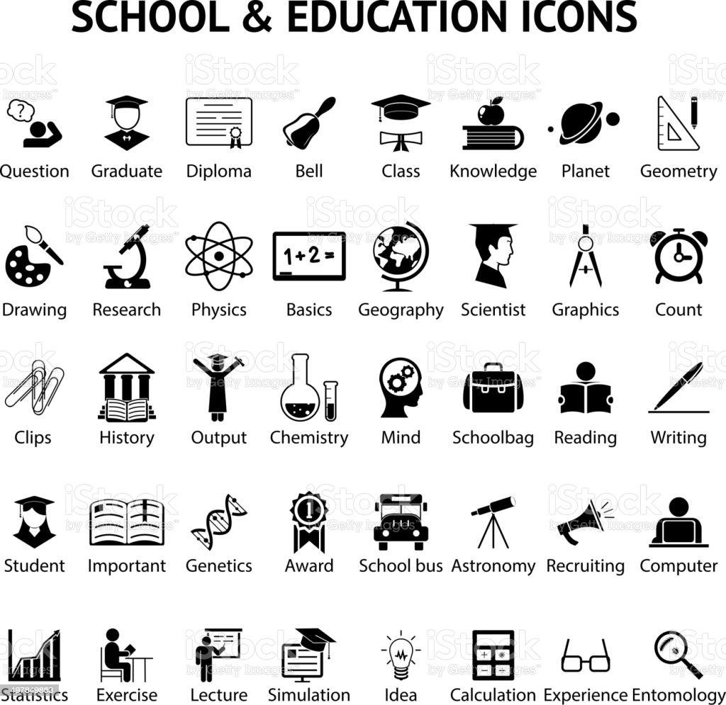 Large set of 40 school and education icons vector art illustration
