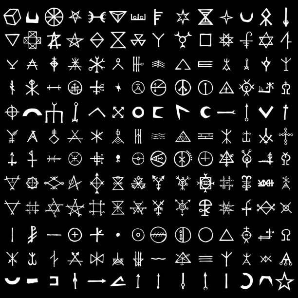 Large set of alchemical symbols isolated on white background. Hand drawn and written elements for signs design. Inspiration by mystical, esoteric, occult theme. Vector. Large set of alchemical symbols isolated on white background. Hand drawn and written elements for signs design. Inspiration by mystical, esoteric, occult theme. Vector. voodoo stock illustrations