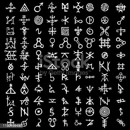 Large set of alchemical symbols on the theme of old manuscript with occult lyrics alphabet and symbols. Esoteric written signs inspired by medieval writings. Vector