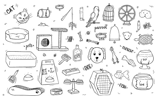 A large set of animals and pet accessories with lettering. Doodle icons black and white isolated objects on white.