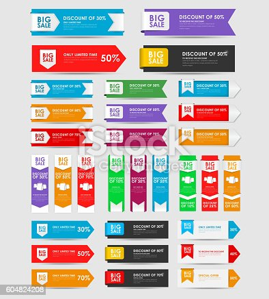 set of banners for the sale of various shapes and colors. Template in the form of ribbons and arrows, vertical and horizontal, with different interest rates. Vector illustration