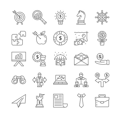 Large set of black and white line drawn Business Strategy Icons