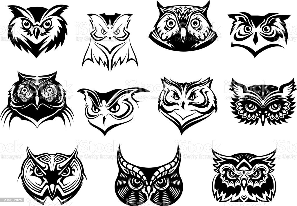 Large set of black and white owl heads vector art illustration