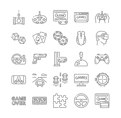 Large set of black and white video game icons
