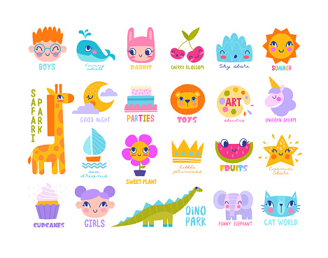 Large set of bright colorful logos for children