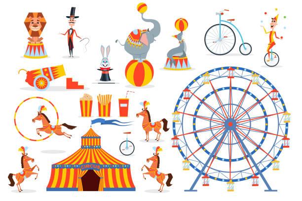 eine große anzahl von zirkus-figuren und objekte - elefantenkunst stock-grafiken, -clipart, -cartoons und -symbole