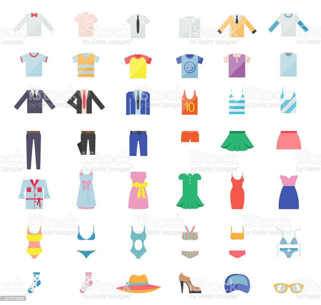 Large Set of Clothing Icons vector art illustration