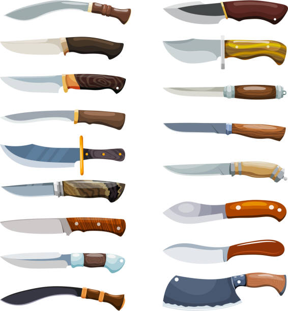 Large set of color images of criminal knives on a white background. Vector illustration of a collection of knives in the style of Cartoon Large set of color images of criminal knives on a white background. Vector illustration of a collection of knives in the style of Cartoon blade stock illustrations