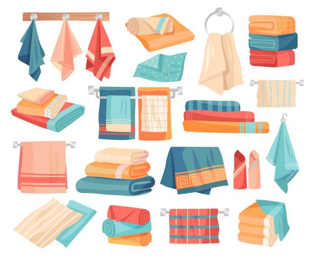 stockillustraties, clipart, cartoons en iconen met grote set van gekleurde handdoek iconen - servet