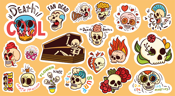 Large set of colorful skull stickers or badges