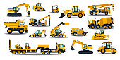 A large set of construction equipment in yellow. Special machines for the building work. Forklifts, cranes, excavators, tractors, bulldozers, trucks, cars, concrete mixer, trailer. Vector illustration