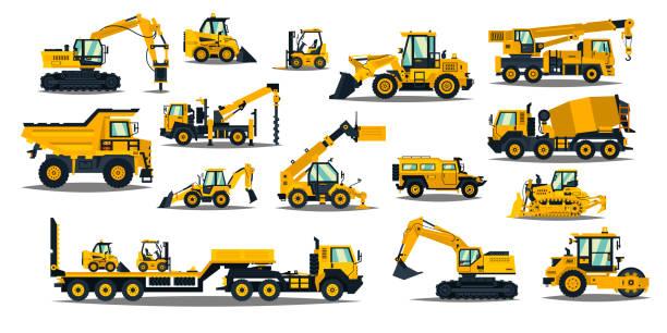 ilustrações, clipart, desenhos animados e ícones de um grande jogo do equipamento de construção no amarelo. máquinas especiais para o trabalho de construção. empilhadeiras, guindastes, escavadeiras, tratores, bulldozers, caminhões, carros, betoneira, reboque. ilustração do vetor - equipamento amarelo