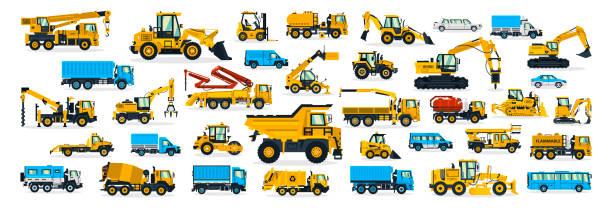 eine große anzahl von baumaschinen, transport zur baustelle, fracht-lkw, bus, bagger, kran, traktor. maschinen für die haustechnik. versand von autos. vektor-illustration - bagger stock-grafiken, -clipart, -cartoons und -symbole