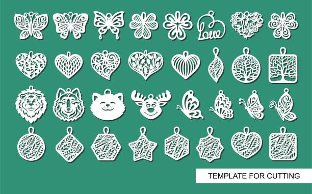 Large set of cute decorative ornaments with leaves, flowers, butterflies, hearts, animals. Template for laser cutting, metal engraving, wood carving, plywood, cardboard, paper cut. Vector illustration decorative laser cut set stock illustrations