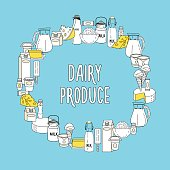 A large set of dairy products, oriented in a circle. Vector illustration.