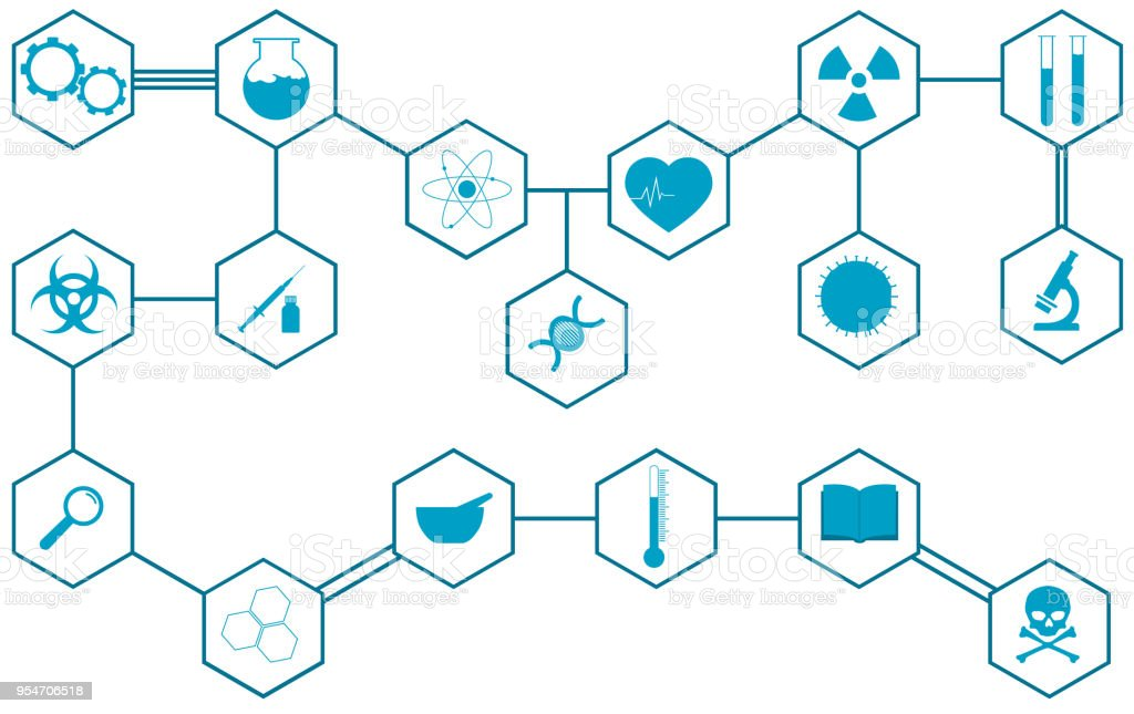 Large set of different science icons vector art illustration