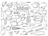 Large set of dishes. Coloring book page. Hand drawn sketch in doodle style. The inscription: kitchen.