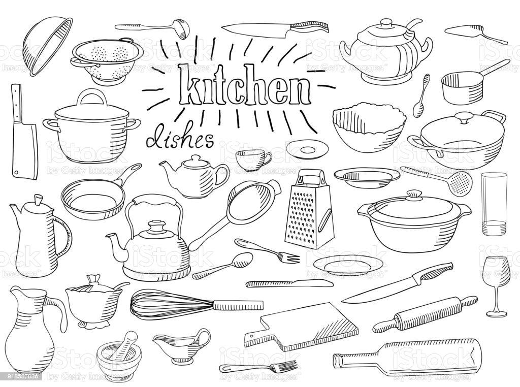 Large set of dishes. vector art illustration