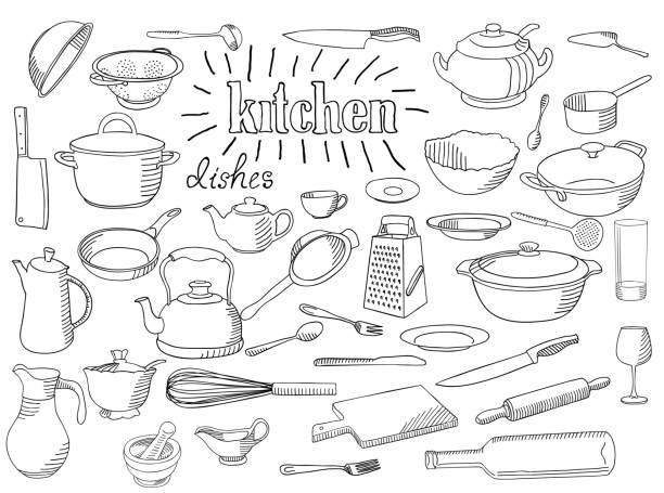Large set of dishes. Large set of dishes. Coloring book page. Hand drawn sketch in doodle style. The inscription: kitchen. frying pan stock illustrations