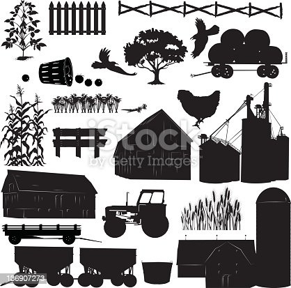 Agriculture Silhouettes. Large set of Farm Elements Black Silhouettes. Farm silhouette icons includes farm vehicles, animals, buildings,crops and plants. Sever different Barn and silos styles. Hay wagon filled with round bales of hay. Different fence style elements. Tractor, crop bins, crops and plants. Chicken and flying birds. Harvest baskets.