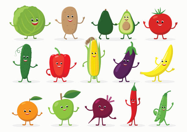 illustrazioni stock, clip art, cartoni animati e icone di tendenza di large set of funny fruits and vegetables cartoon characters smiling with hands and legs isolated on white background. cheerful food mascots in flat design. - melanzane