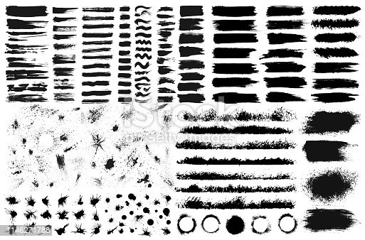 Large set of hand drawn grunge elements isolated on white background. Black ink borders, brush strokes, stains, banners, blots, splatters, spray. Vector illustration.