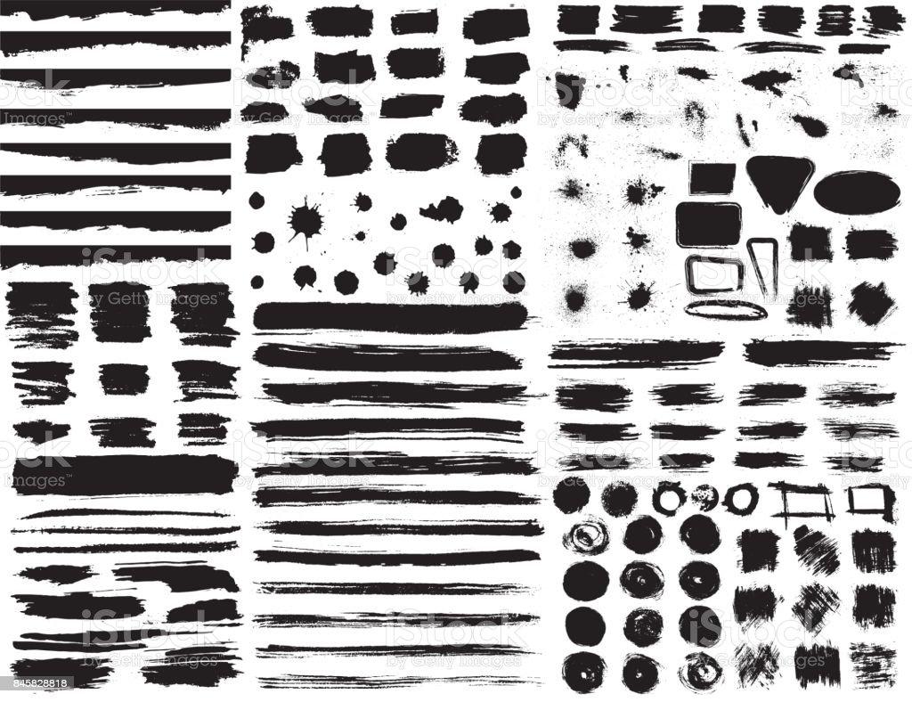 Ensemble d'éléments de grunge dessinés à la main isolé sur fond blanc. - Illustration vectorielle