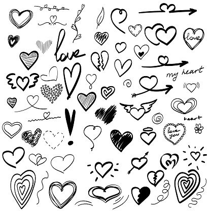 large set of hand-drawn heart drawings, valentine. doodle vector illustration