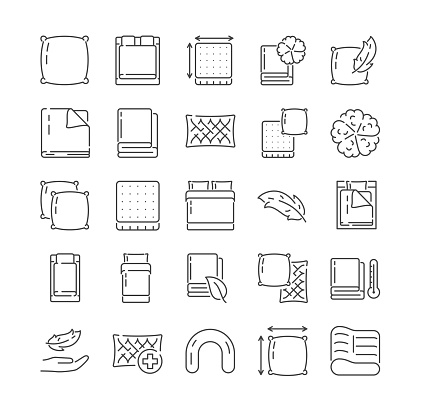 Large set of icons related to household linens
