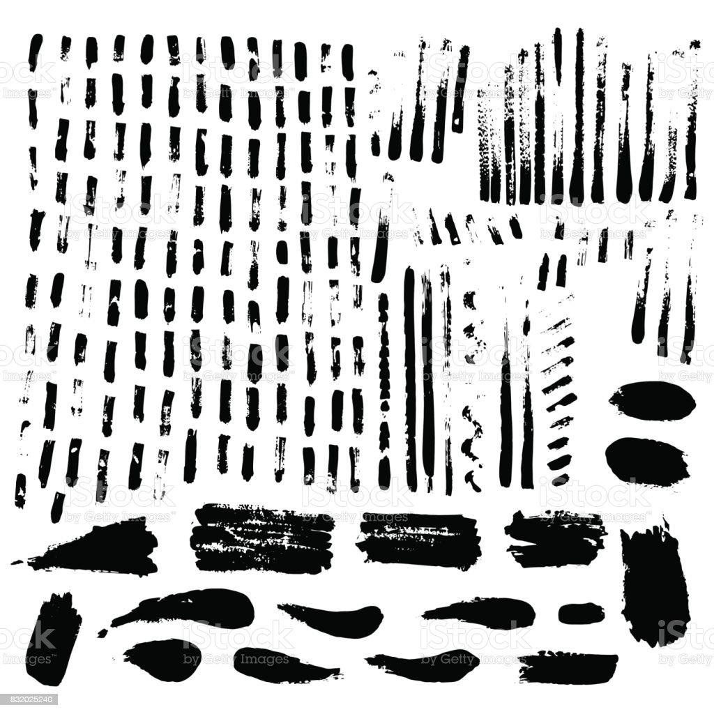 Large set of ink textures. Brush strokes - grunge background. vector art illustration